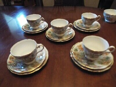 5 Vintage Royal Standard ' The Old Mill Stream 'Trios Cups Plates & Saucers. • 20£