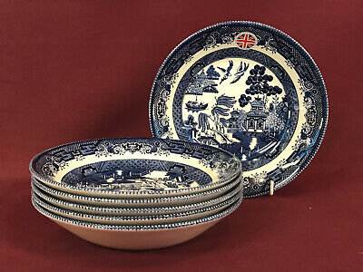 CHURCHILL/QUEEN'S BLUE WILLOW 6x SOUP BOWLS 20cm - NEW/UNUSED (2nd Quality Dark) • 8£
