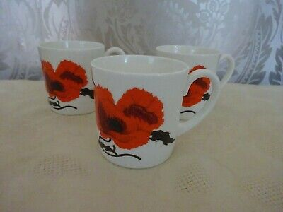 Wedgwood Susie Cooper Design Corn Poppy Set Of 3 Cups Only • 8.50£