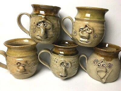 Pretty Ugly Pottery Tankard Mug Funny Face Quirky Cafe Gift Cup Coffee Present • 8.99£
