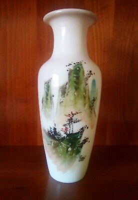 Antique  Vintage Milk Glass Vase. With Hand Painted Japanese Scene. • 4.99£