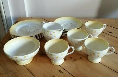 VINTAGE FOLEY 14 Piece Yellow Daffodils Foral Tea Set Fine Bone China Porcelain  • 18£