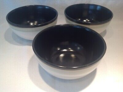 3X Denby Black, White & Light Green Bowls,(15.5cm Diameter) • 7.99£