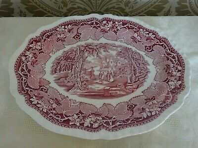 Masons Ironstone Oval Serving Plate Red & White Vista Design 35cm X 28cm • 9.99£