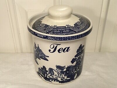 Vintage Empire Ware Willow Pattern Blue & White Tea Caddy • 9.99£