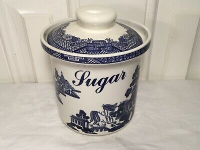 Vintage Empire Ware Willow Pattern Blue & White Large Sugar Pot • 9.99£