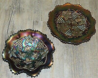 2 Carnival Glass Grape And Vine Items. Fenton Bowl And 3 Ball Foot Salver • 13£