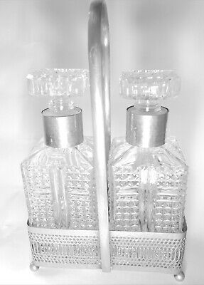 Vintage Style Glass Decanter Set With Silver Metal Holder Carafe Sherry Bottles • 8.95£