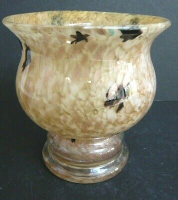 Stunning Murano Style Art Glass Footed Bowl / Vase With Gold Inclusions  • 17.99£