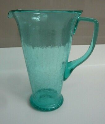 Vintage Large Turquoise / Sea Green Crackle Glass Footed Jug • 12.50£
