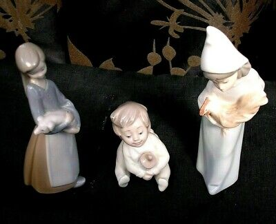 3 X QUALITY LLADRO NAO FIGURES ALL  PRISTINE CONDITION  • 15£