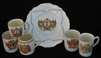 Collection Of 5 Royal Commemorative Mugs Plus Edward VIII 1937 Coronation Plate • 10.99£