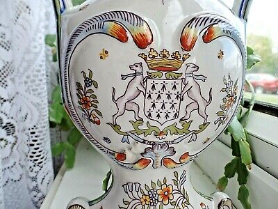 Vintage French Desvres Faience Hand Painted Armorial Vase 27cm 10.6'' • 33£