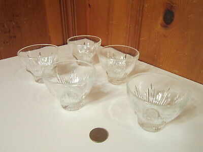 Set Of 6 Vintage Clear Pressed Glass Ribbed Rays Punch Bowl 4oz Cups EUC • 10.30£