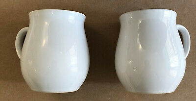 Pair Of Holkham Pottery Traditional Coffee Mugs - Plain White With Metalic Rim • 7.99£