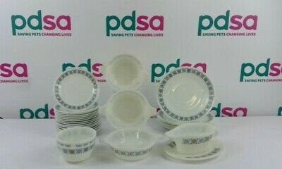 30 X Pieces Of Vintage JAJ Pyrex Tableware With Blue And Grey Pattern - UH1342 • 10.50£