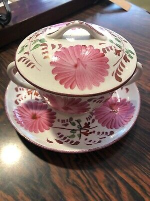 Welsh GAUDY Style Hand Painted  Double Handle Cup, Lid & Saucer By Allentons • 20£