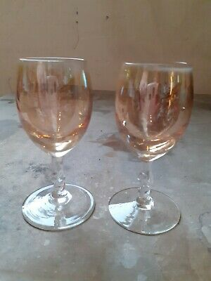 1930's Iridescent Sherry Glasses X2 Coral For Cocktails • 1.99£