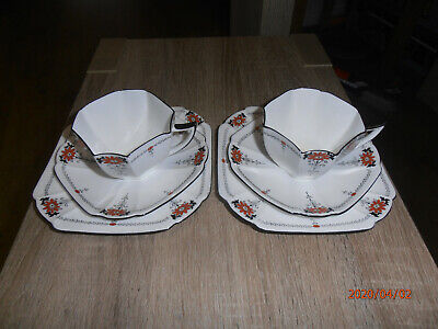 2 X Art Deco / Vintage China Tea Set Trio.Shelley Queen Anne Red Daisy.11497 • 64£