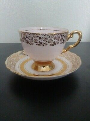 Tuscan Fine Bone China Powder Pink With 22 KT Gold Decoration Tea Cup & Saucer • 4£