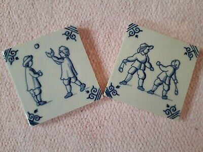 2 Dutch Delft Miniature Blue White Tiles With Children Playing • 4£