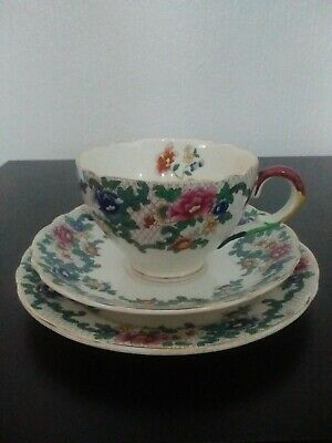 Royal Couldon Tea Trio In The Victoria Pattern • 2£