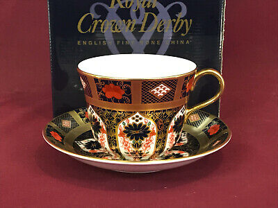 Royal Crown Derby Old Imari Solid Gold Band Breakfast Cup & Saucer - New/boxed • 74.99£