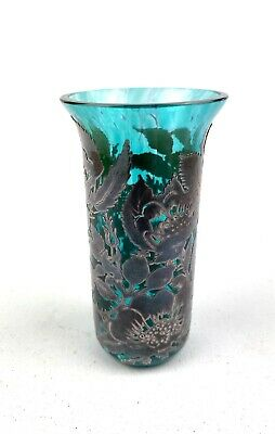 10.5cm Sterling Silver Floral Overlay Laugharne Turquoise Glass Posy Vase • 94.95£