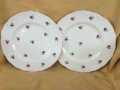 Colclough Ditsy Dark Pink / Red Rose Dinner Plates X 2 • 8£