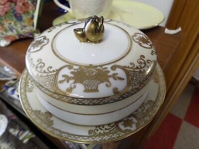 Noritake Gold Encrusted Basket Of Flowers Round Butter / Cheese Dish No Damage • 20£