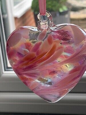 Nobile Mouth Blown Birthday/Friendship/Love/Good Luck Glass Heart With Box Gift • 8.99£
