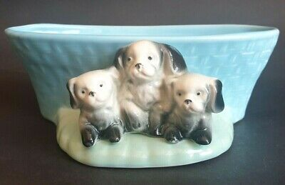 Vintage Withernsea Eastgate Pottery 'Posy Basket' With Three Puppies • 4.99£