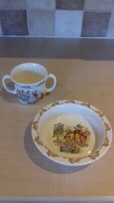 Royal Doulton Bunnykins Bowl And Double Handled Cup • 3£