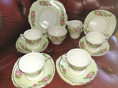 Beautiful Colclough Vintage Mint Green Pink Roses Rose Buds 15 Pc China Teaset • 45£