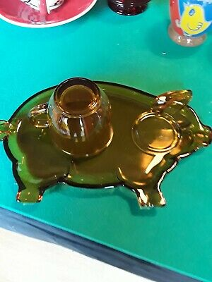 Retro Tiara Amber  Glass Snack Plate & Cup Pig Shape • 7.99£