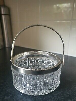 Antique Vintage Cut Glass Sugar Bowl Silver Handle • 0.99£
