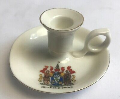 Vintage Crested China Southend On Sea Candle Chamber Stick Holder Gemma China • 19£