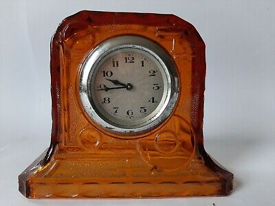 Art Deco Reich Amber Glass Dressing Table Clock • 14.99£