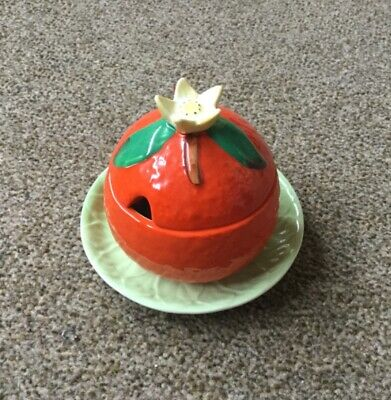 Vintage Carlton Ware Orange Preserve Marmalade Pot With Lid And Saucer • 5.50£