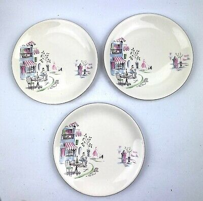 Vintage Retro Alfred Meakin Monmatre Dinner Plates X 3 1950s French Cafe Poodles • 12.95£