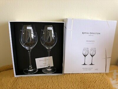 2 X ROYAL DOULTON CRYSTAL TWO HEARTS ENTWINED PROMISES WINE GLASSES NIB & Signed • 21.40£