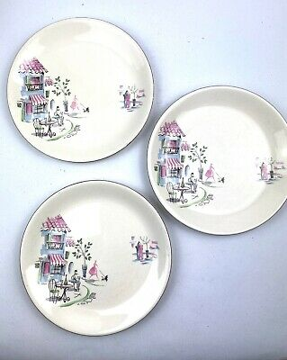 Retro Alfred Meakin Monmatre Starter Plates X 3 1950s French Cafe Poodles 23cm • 12.95£