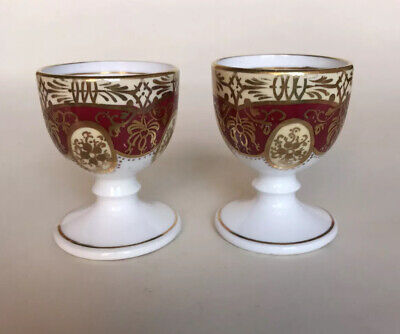 2 X Antique 19thC English Porcelain Footed Egg Cups • 25£
