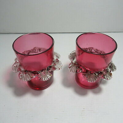 Set Of 2 Victorian Cranberry Glass With Applied Crystal Frills • 9£