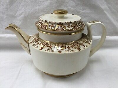 Antique Copeland Teapot Single Person Size Brown And Gold Colour Pattern 7036 • 10£