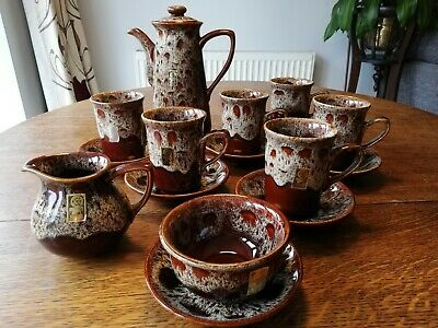 Foster's Coffee Set Retro Brown Treacle Glaze Pattern, Great Condition • 40£