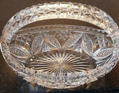 Vintage Heavy Cut Glass Lead Crystal Handled Dish/ Basket  In Vgc • 19.99£