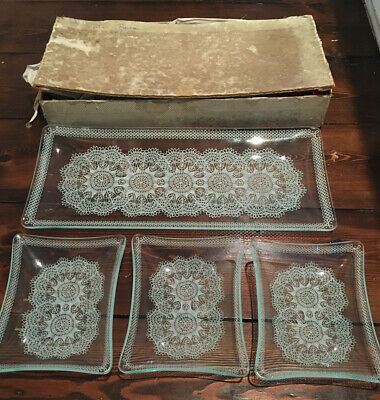 Vintage Chance Glass Set Lace Pattern Dishes Original Box Great Wedding Display • 19.99£