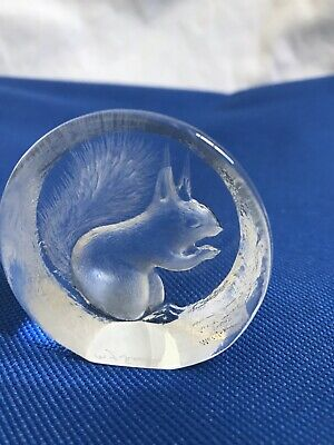 MATS JONASSON Squirrel Full Lead Crystal Paperweight SWEDEN Signed & Labeled • 3.74£