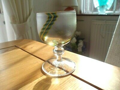 Beautiful Art Glass Goblet By Del Taylor Of Glasshouse 1980. Perfect Condition. • 0.99£